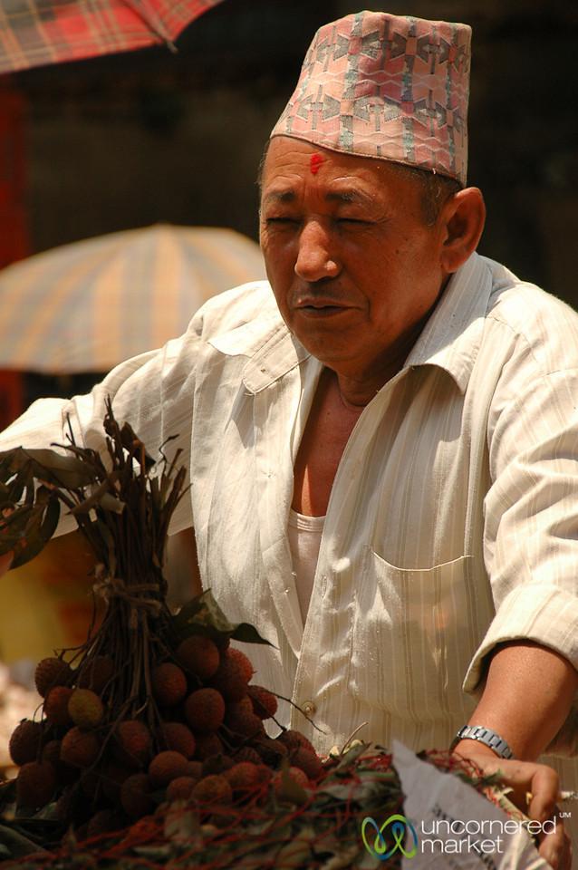 Nepali Hat and Fruit - Kathmandu, Nepal