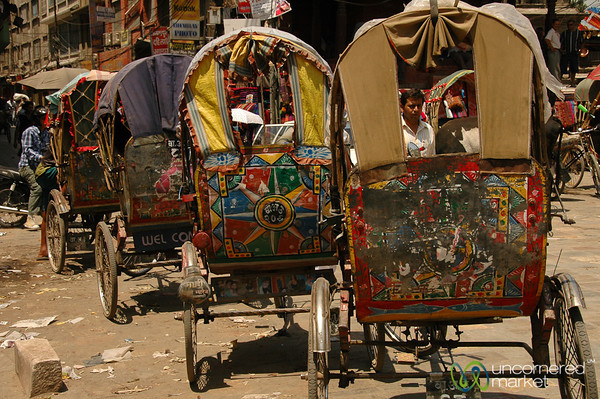 Bicycle Rickshaws All Lined Up - Kathmandu, Nepal