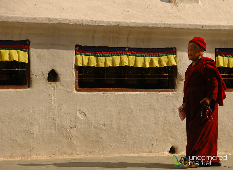 Prayer Wheels and Pilgrims - Bodhnath, Nepal