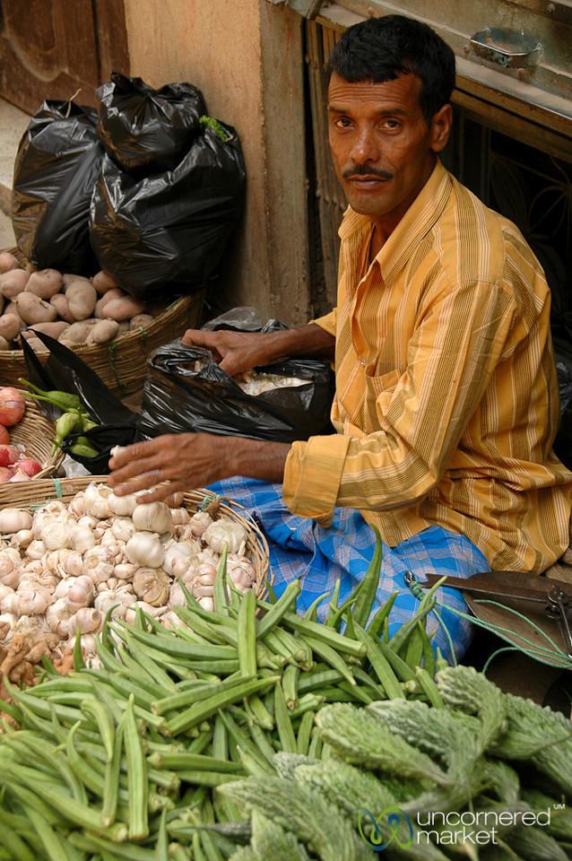 Selling Okra and Other Veggies - Taken in Kathmandu, Nepal