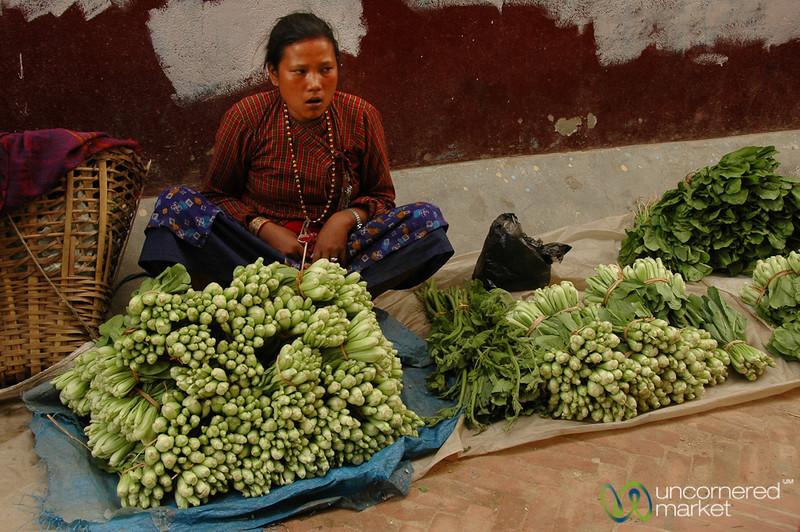 Greens on the Street - Bodhnath, Nepal