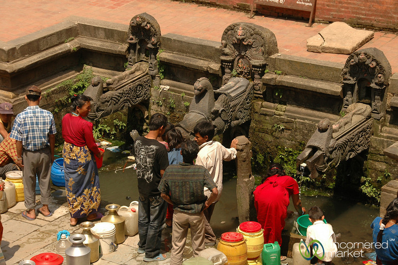 Filling Containers at the Well - Patan, Nepal