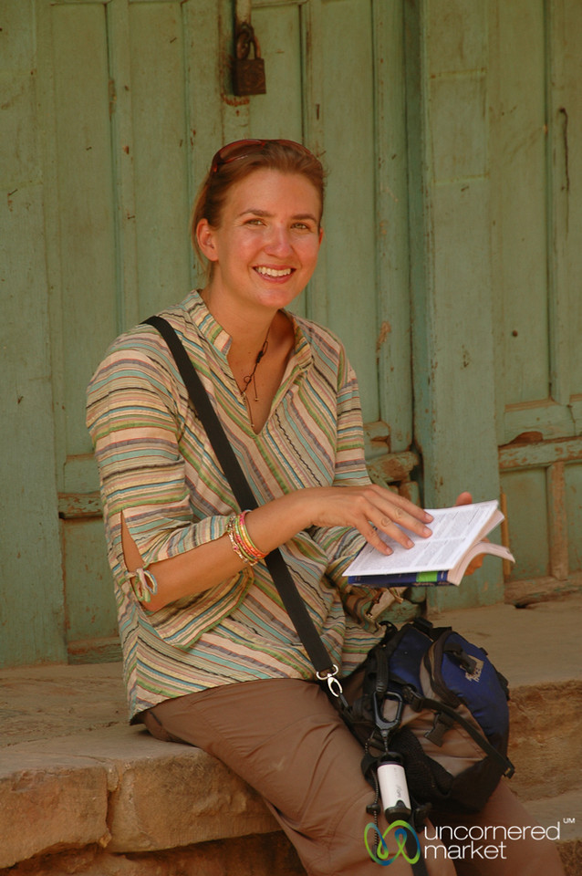 Audrey Reads Up on Newari Architecture - Patan, Nepal