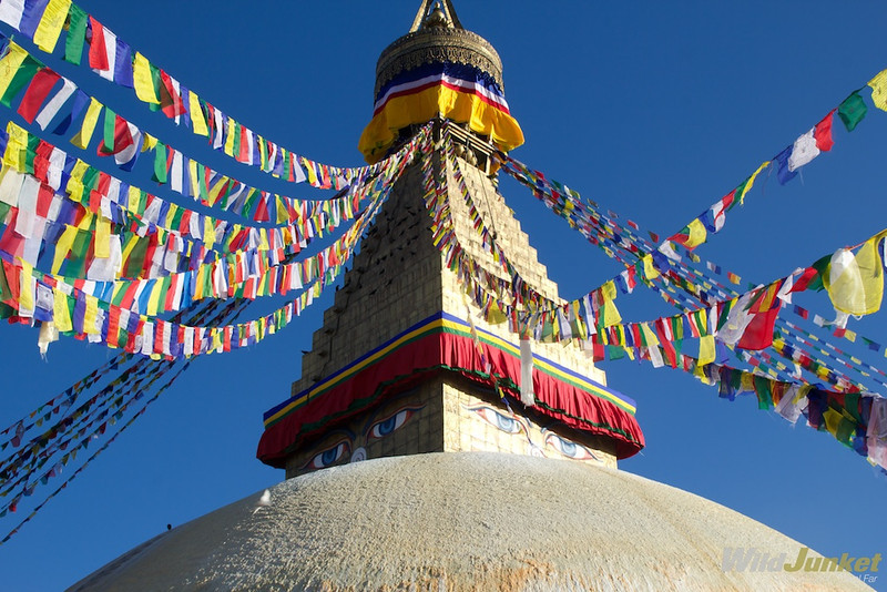 Tibetan Buddhist flags at Boudhna Stupa