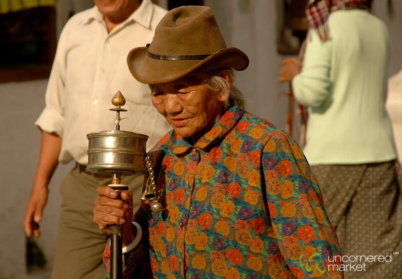 Pilgrim with Prayer Wheel - Boudhanath, Nepal