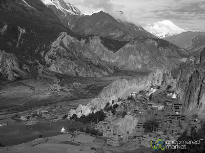 View of Himalayan Mountains in Black & White - Annapurna Circuit, Nepal
