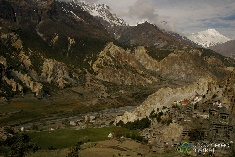 Village Tucked into the Mountains - Annapurna Circuit, Nepal