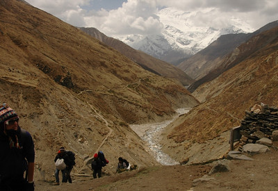Hikers Going to Base Camp - Annapurna Circuit, Nepal