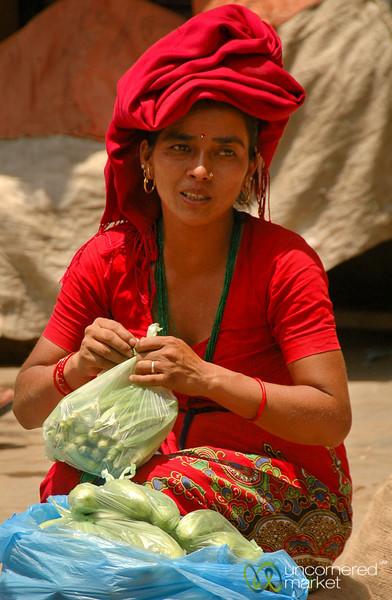 Selling Greens in Kathmandu