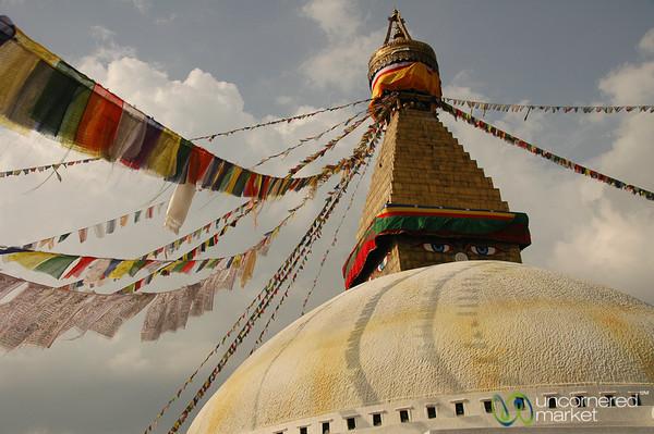 Prayer Flags at Boudhanath Stupa - Nepal