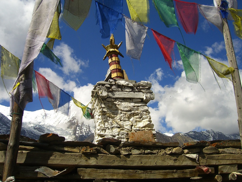Tibetan Buddhist Prayer Flags and Chorten - Annapurna Circuit, Nepal