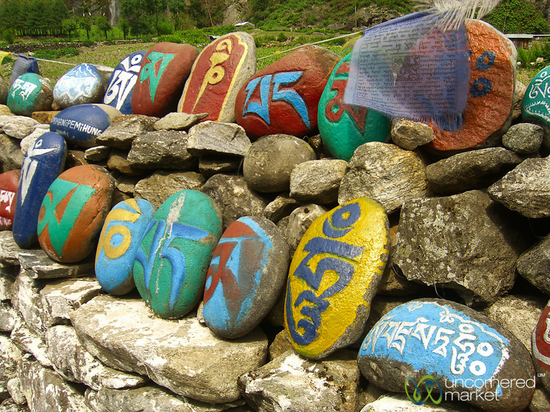 Colorfully Painted Rocks with Buddhist Prayer - Annapurna Circuit, Nepal