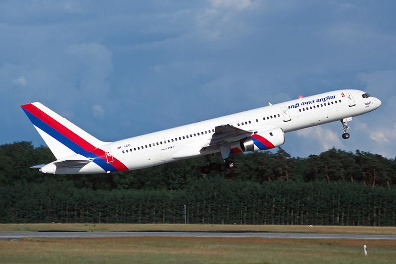 """9N-ACB Boeing 757-2F8C """"Royal Nepal Airlines"""" c/n 23863 Frankfurt/EDDF/FRA 08-06-97 (35mm slide)"""