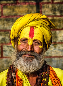 Portrait of sadhu baba in ancient Pashupatinath Temple