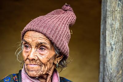 Portrait of a very old farmer woman in Nepal