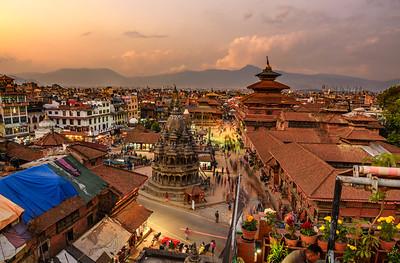 Sunset over  Patan Durbar Square in Kathmandu, Nepal