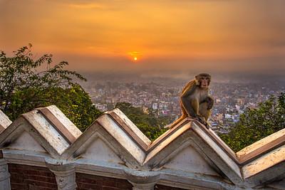 Sunrise above Kathmandu in Nepal