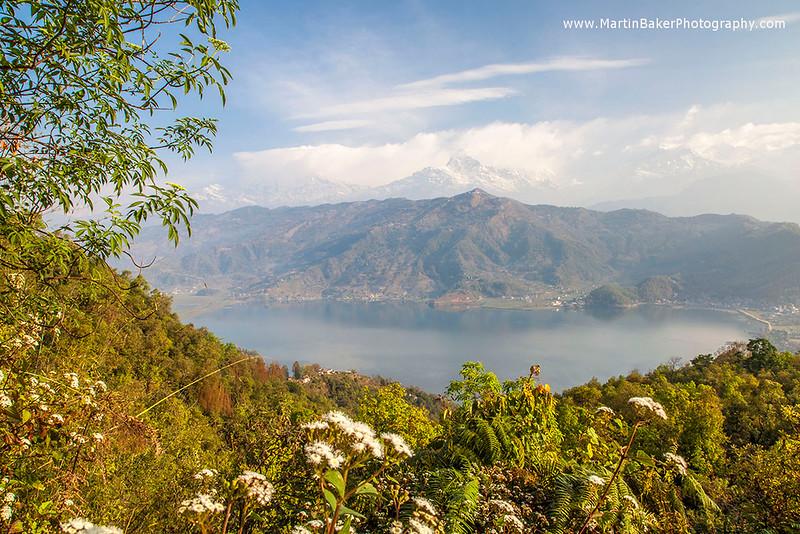 Phewa Tal Lake and Annapurna mountain range, Pokhara, Nepal.