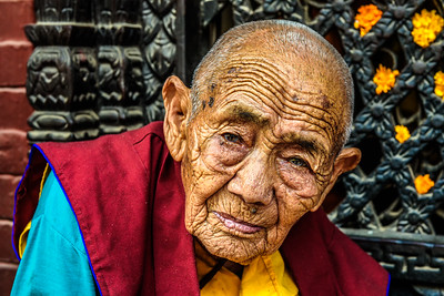 Old buddhist nun in Kathmandu, Nepal
