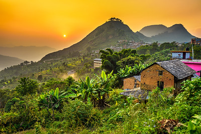 Sunset above Bandipur in Nepal