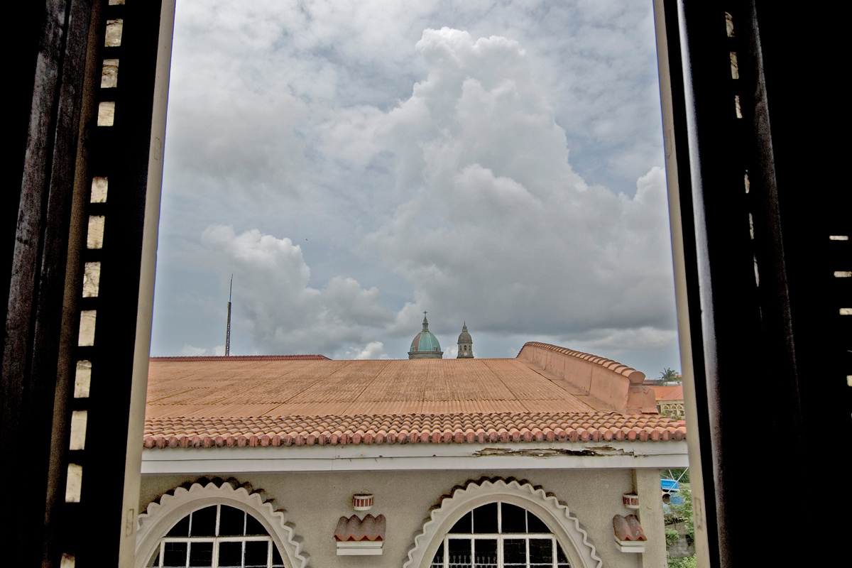 Manila Cathedral through an open window, Philippines
