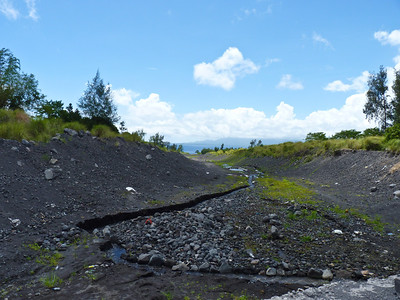 Debris from the most recent pyroclastic flow - only four months before I was there.