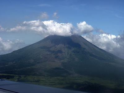 First view of Mayon from the plane. We're coming in to land, so we're lower than the peak.