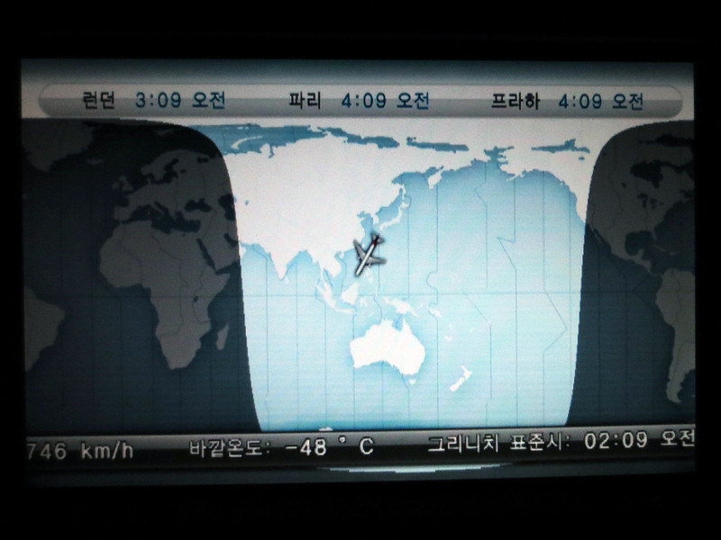 Global position of our flight, approaching Korea