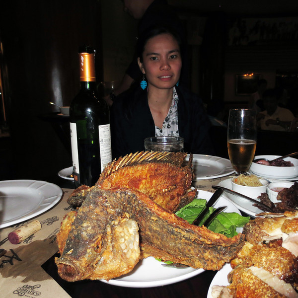 Maureen at dinner in Manila.