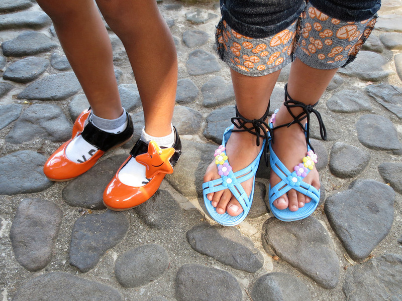Fashionable footwear modeled by Jamaica and Mona.<br /> Club-O, Anilao, Philippines.