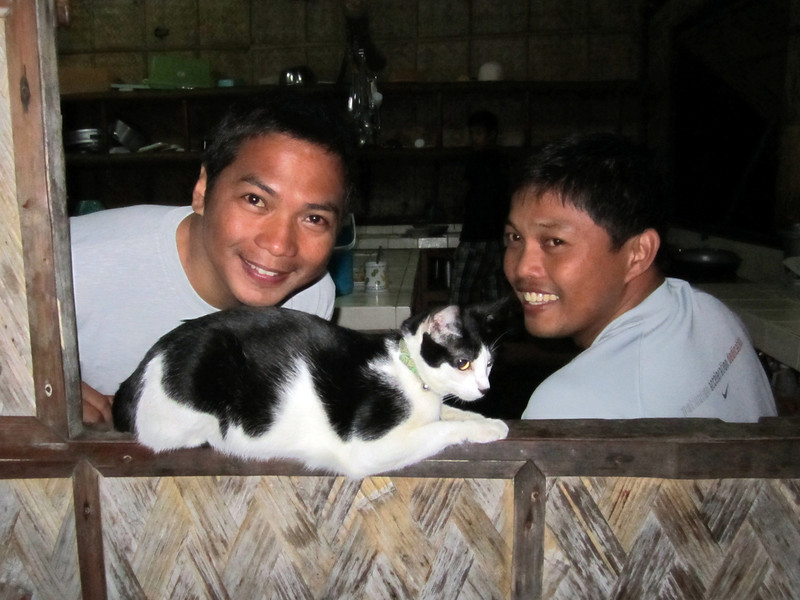 "Peri & Ditto, with ""Panget"", Club-O feline<br /> Anilao, Philippines"