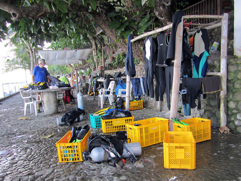 Dive gear staging area<br /> Club-O<br /> Anilao, Philippines