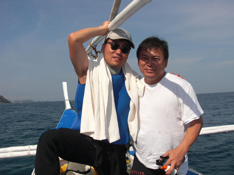 "Kevin and ""Boy"" Jose Venus, owner of Club Ocellaris<br /> Anilao, Philippines"
