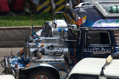 Close-up shot of jeepney's hood in Baguio, Philippines