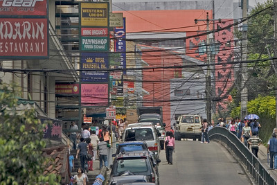Electrical wiring and signs at a busy street in Bagiuo Philippines