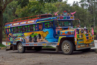 Colorful painting and graffiti on a jeepney - Baguio, Philippines