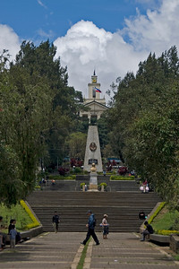 Steps and monument at the Rizal Park in Baguio, Philippines