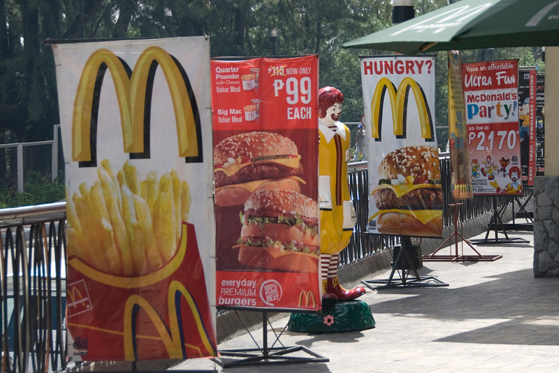 McDonald's sign outside fastfood in Baugio, Philippines