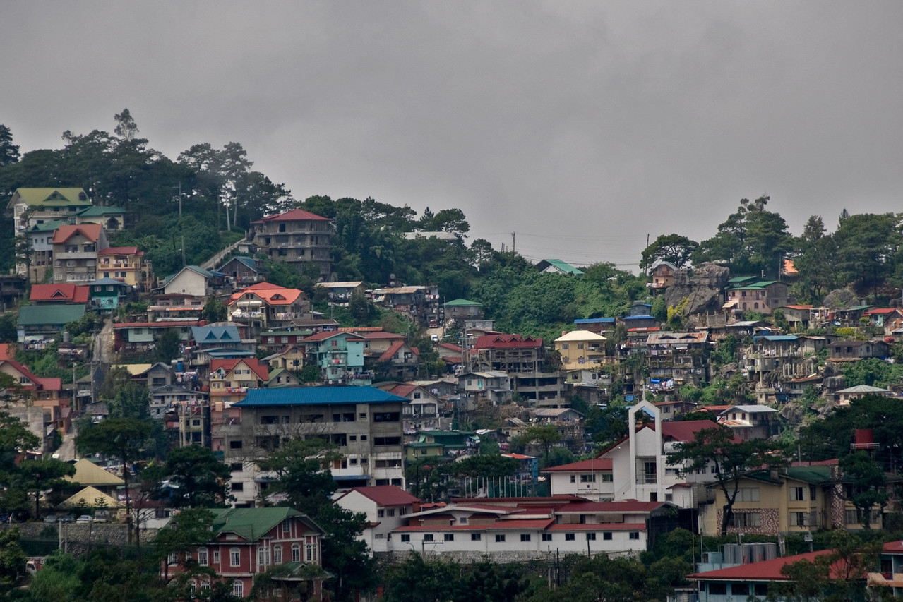 Houses on a hillside at Baguio, Philippines