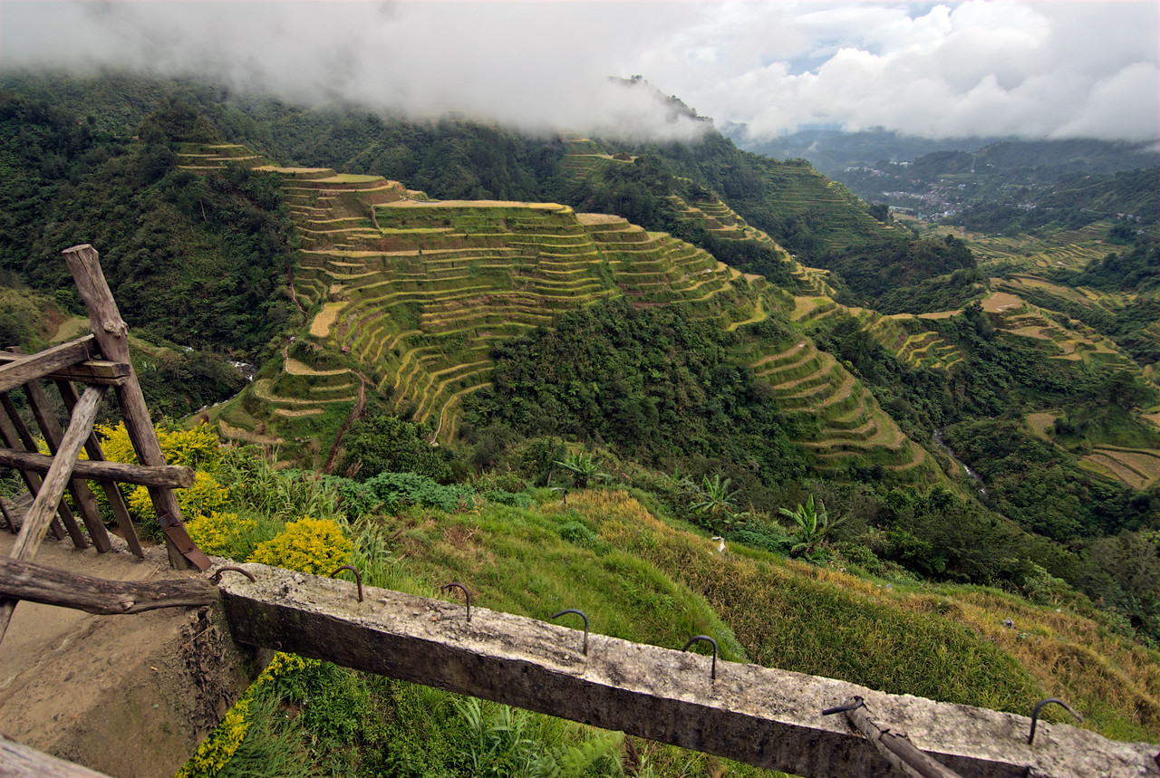 Fog hovering above the Banaue Rice Terraces - Banaue, Philippines