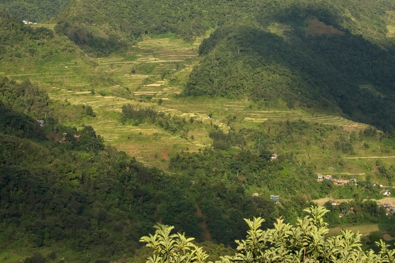 Wide view of the mountain and Banaue Rice Terraces - Banaue, Philippines