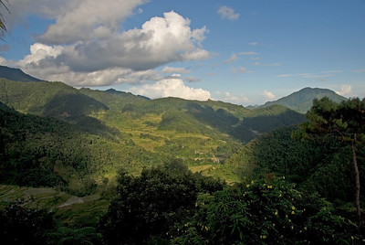 Green mountains near the Banaue Rice Terraces in Banaue, Philippines