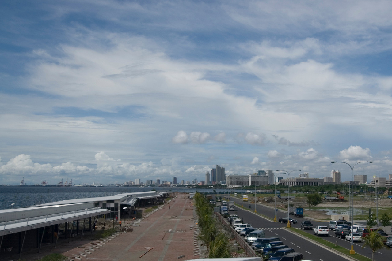 Overlooking view of the Manila Harbor and city skyline - Philippines