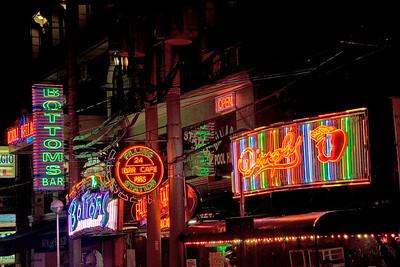 Bright neon lights in Makati at Night -  Philippines