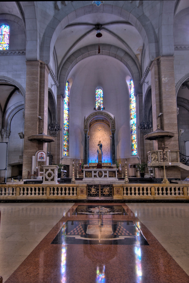 Close-up shot of the altar at Manila Cathedral, Philippines