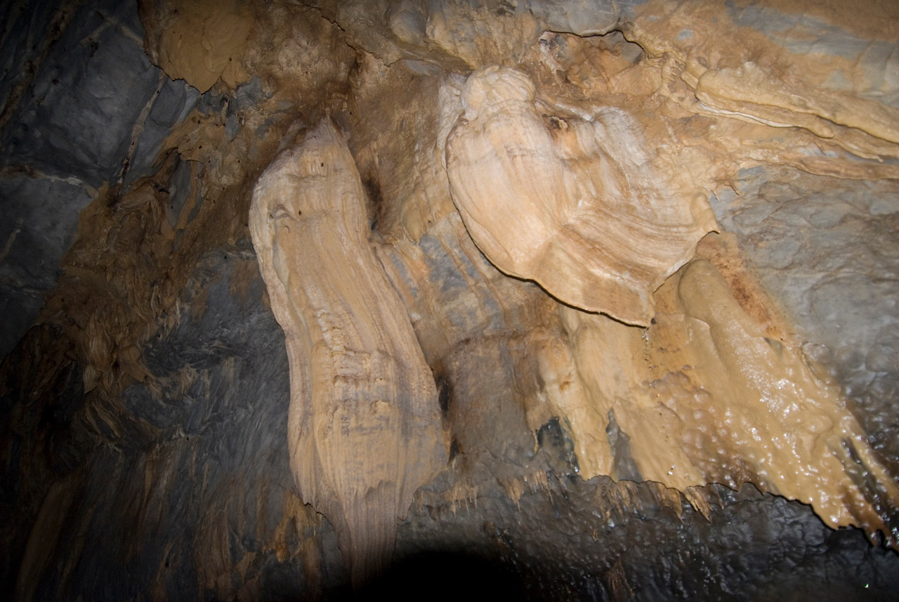 More stalactite formation on the ceiling of Underground River - Palawan, Philippines