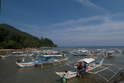 Boats docked outside the Underground River Park - Palawan, Philippines