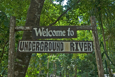 Sign welcoming tourists to the Underground River - Palawan, Philippines