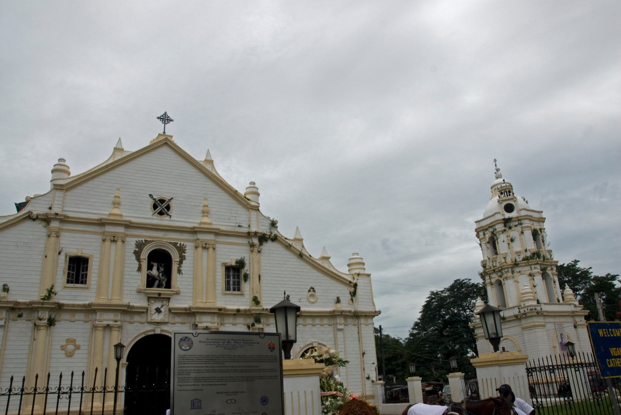 Shot of the Cathedral and Bell Tower from outside - Vigan, Philippines