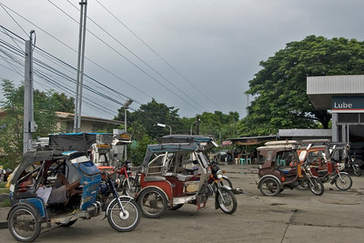 Tricycles parked at a terminal in Vigan, Philippines